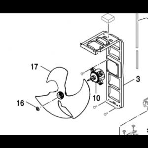 009C. Fästmutter till fläktblad på utedel på Bosch Compress och NI PHR-N