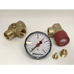 Fittings kit with safety valve for expansion vessel