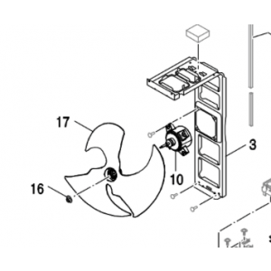 016C. Monteringsmutter for vifteblad på utedelen på Bosch Compress og NI PHR-N