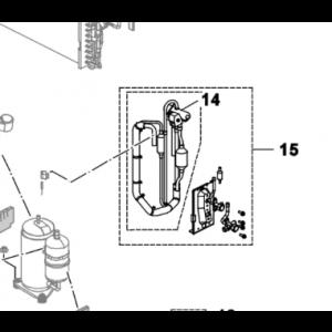 015C. Fireveisventil med kran for Nordic Inverter PHR-N og Bosch Compress 5000