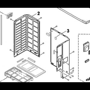Plate metall utendørsenhet på venstre side for Nordic Inverter / Bosch Compress